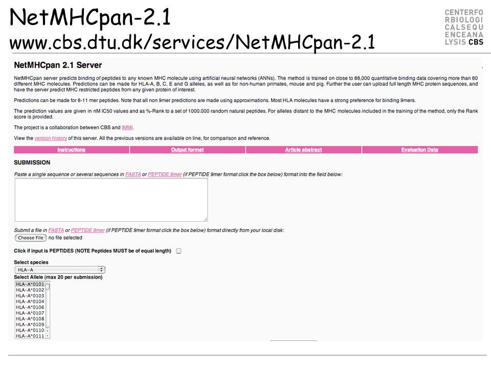NetMHCpan-2.1 www.cbs.dtu.dk/services/NetMHCpan-2.1