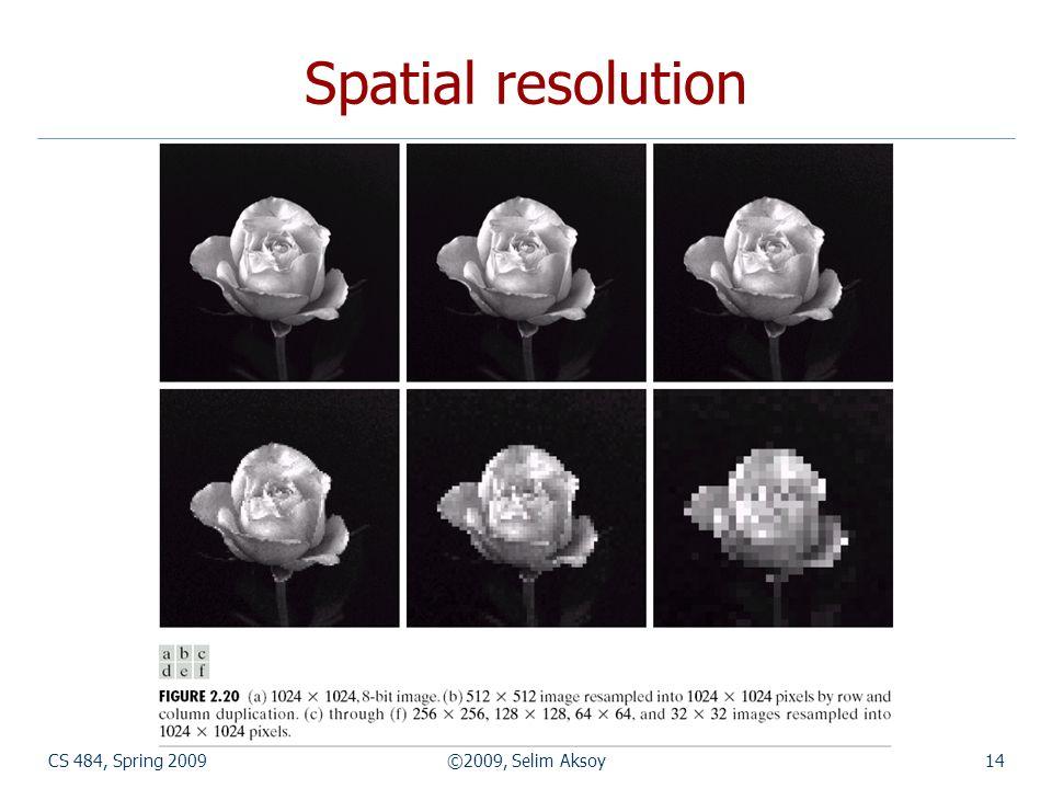 CS 484, Spring 2009©2009, Selim Aksoy14 Spatial resolution