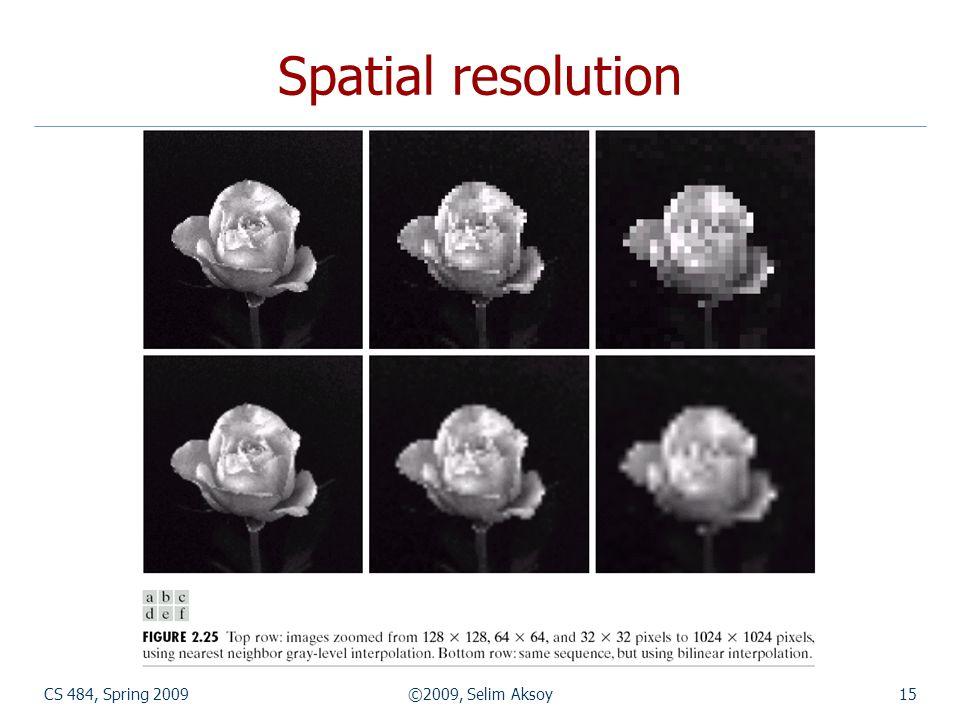 CS 484, Spring 2009©2009, Selim Aksoy15 Spatial resolution