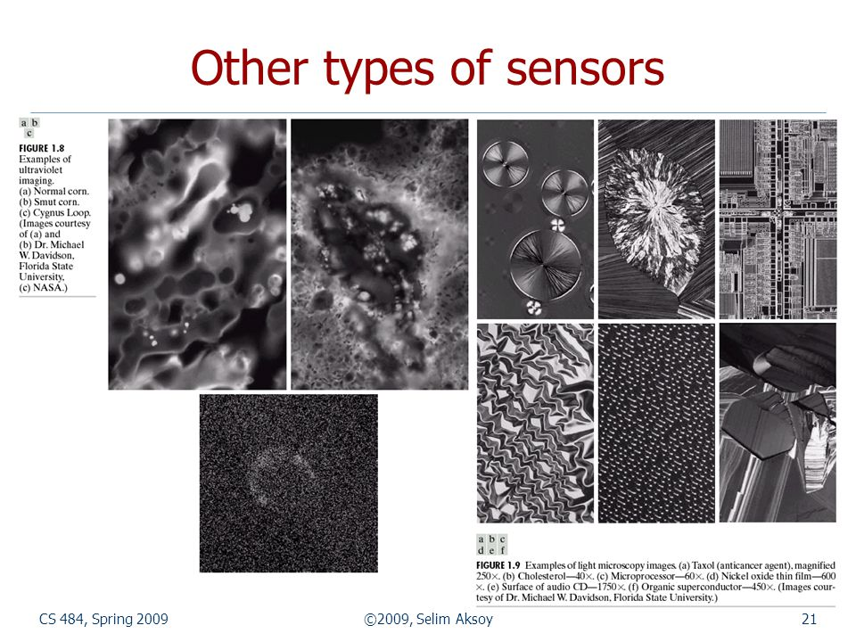 CS 484, Spring 2009©2009, Selim Aksoy21 Other types of sensors