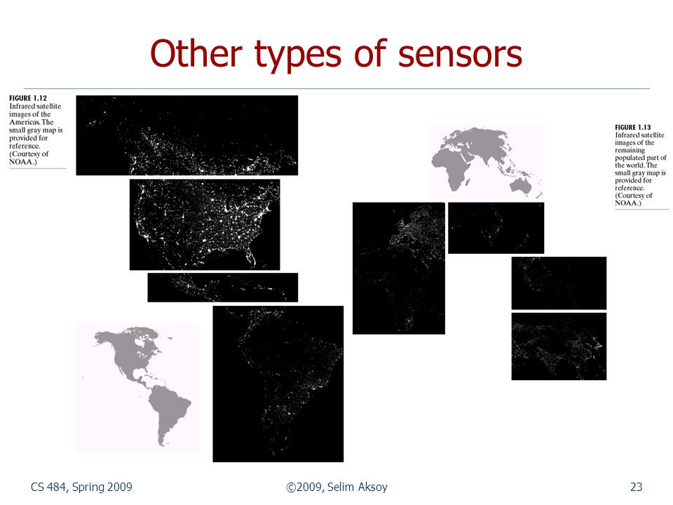 CS 484, Spring 2009©2009, Selim Aksoy23 Other types of sensors