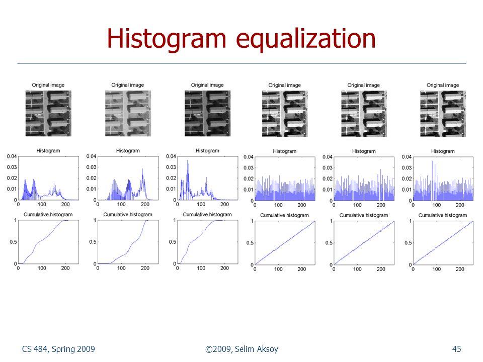 CS 484, Spring 2009©2009, Selim Aksoy45 Histogram equalization