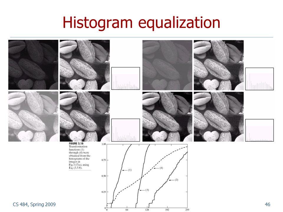 CS 484, Spring 2009©2009, Selim Aksoy46 Histogram equalization