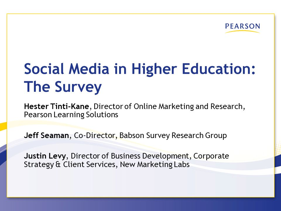 Pearson Learning Solutions Academic Communications Are Concentrated on a Few Social Networks 12