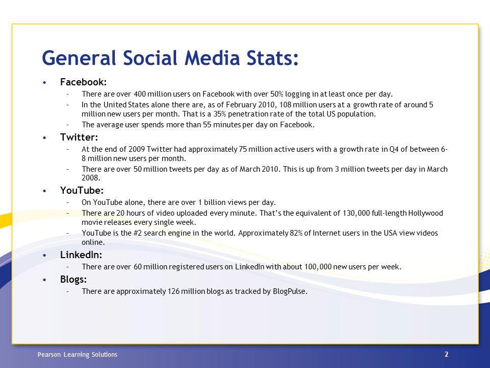 Pearson Learning Solutions Top Social Media: Communicating with peers: Facebook, LinkedIn, Skype, YouTube Communicating with students: YouTube, Facebook, Skype, LinkedIn