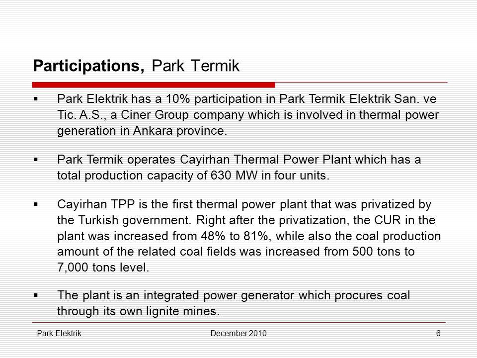 Park ElektrikDecember 20106 Participations, Park Termik  Park Elektrik has a 10% participation in Park Termik Elektrik San.