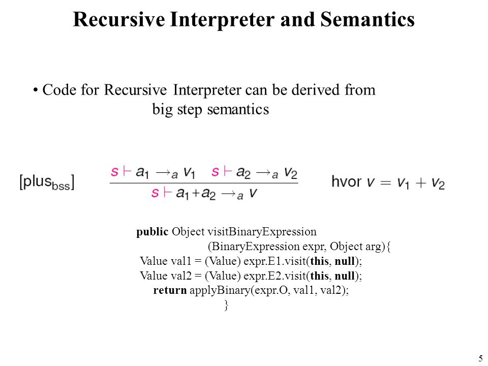 5 Recursive Interpreter and Semantics public Object visitBinaryExpression (BinaryExpression expr, Object arg){ Value val1 = (Value) expr.E1.visit(this, null); Value val2 = (Value) expr.E2.visit(this, null); return applyBinary(expr.O, val1, val2); } Code for Recursive Interpreter can be derived from big step semantics