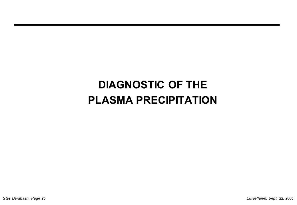 EuroPlanet, Sept. 22, 2006Stas Barabash, Page 25 DIAGNOSTIC OF THE PLASMA PRECIPITATION