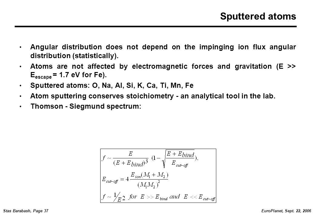 EuroPlanet, Sept. 22, 2006Stas Barabash, Page 37 Sputtered atoms Angular distribution does not depend on the impinging ion flux angular distribution (