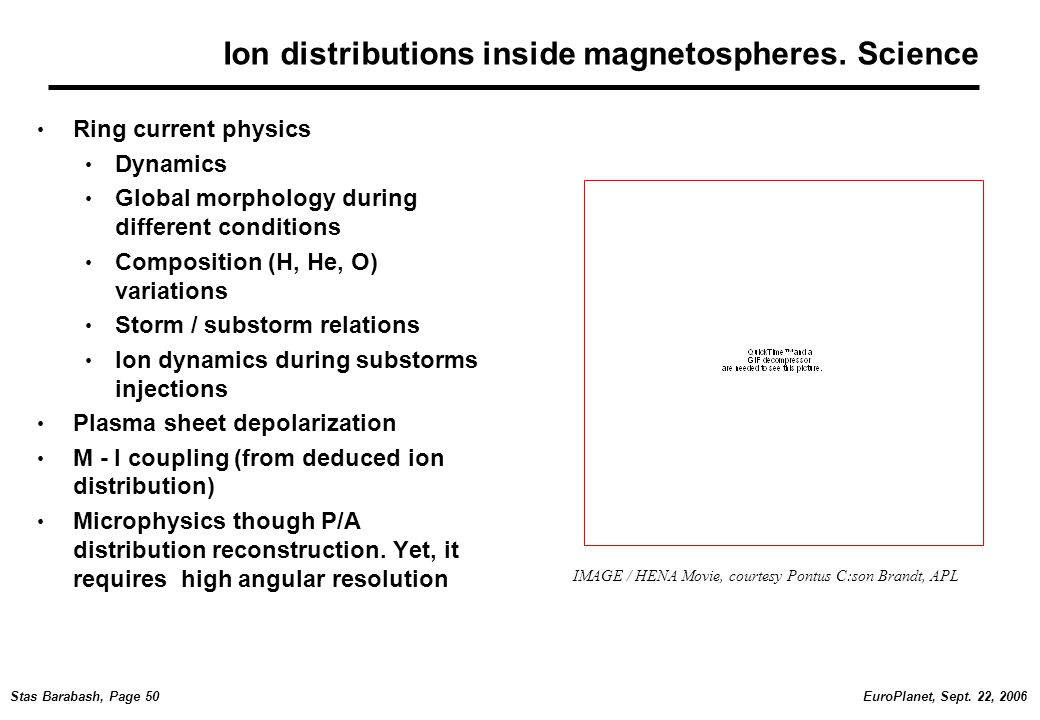 EuroPlanet, Sept. 22, 2006Stas Barabash, Page 50 Ion distributions inside magnetospheres.