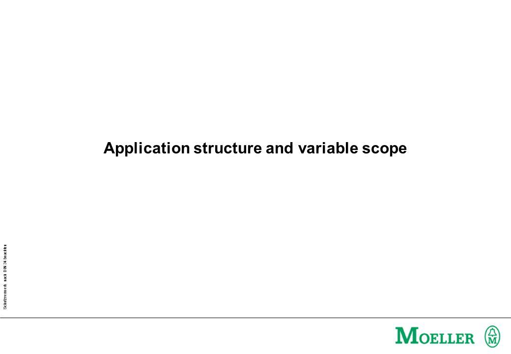 Schutzvermerk nach DIN 34 beachten Project BlocksGlobal VariablesData types DeclarationCode Structure of an application software