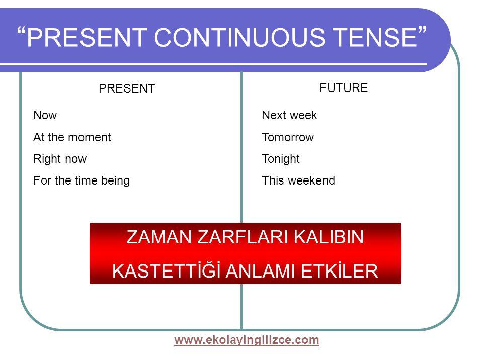 www.ekolayingilizce.com PRESENT CONTINUOUS TENSE PRESENT FUTURE Now At the moment Right now For the time being Next week Tomorrow Tonight This weekend ZAMAN ZARFLARI KALIBIN KASTETTİĞİ ANLAMI ETKİLER