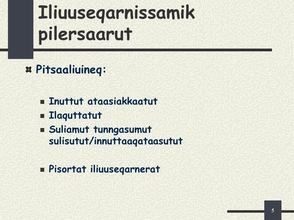 5 Iliuuseqarnissamik pilersaarut Pitsaaliuineq: Inuttut ataasiakkaatut Ilaquttatut Suliamut tunngasumut sulisutut/innuttaaqataasutut Pisortat iliuuseq