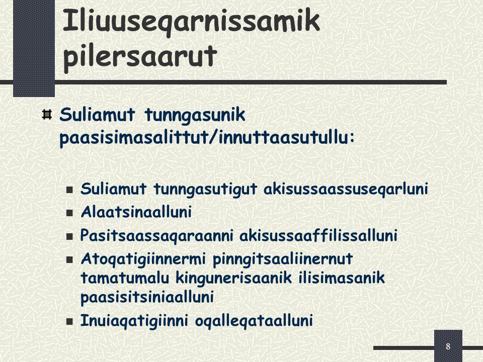 8 Iliuuseqarnissamik pilersaarut Suliamut tunngasunik paasisimasalittut/innuttaasutullu: Suliamut tunngasutigut akisussaassuseqarluni Alaatsinaalluni