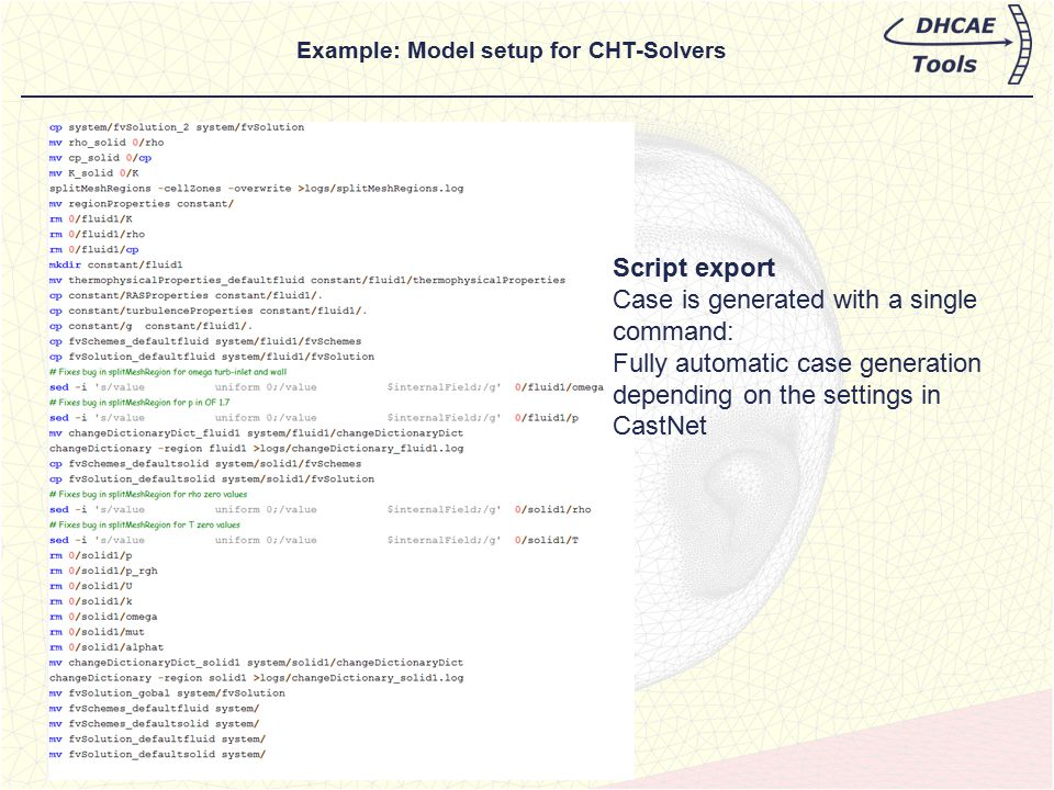 Script export Case is generated with a single command: Fully automatic case generation depending on the settings in CastNet Example: Model setup for C