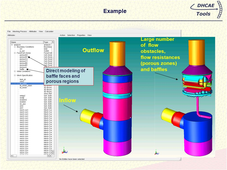 Example Inflow Outflow Large number of flow obstacles, flow resistances (porous zones) and baffles Direct modeling of baffle faces and porous regions