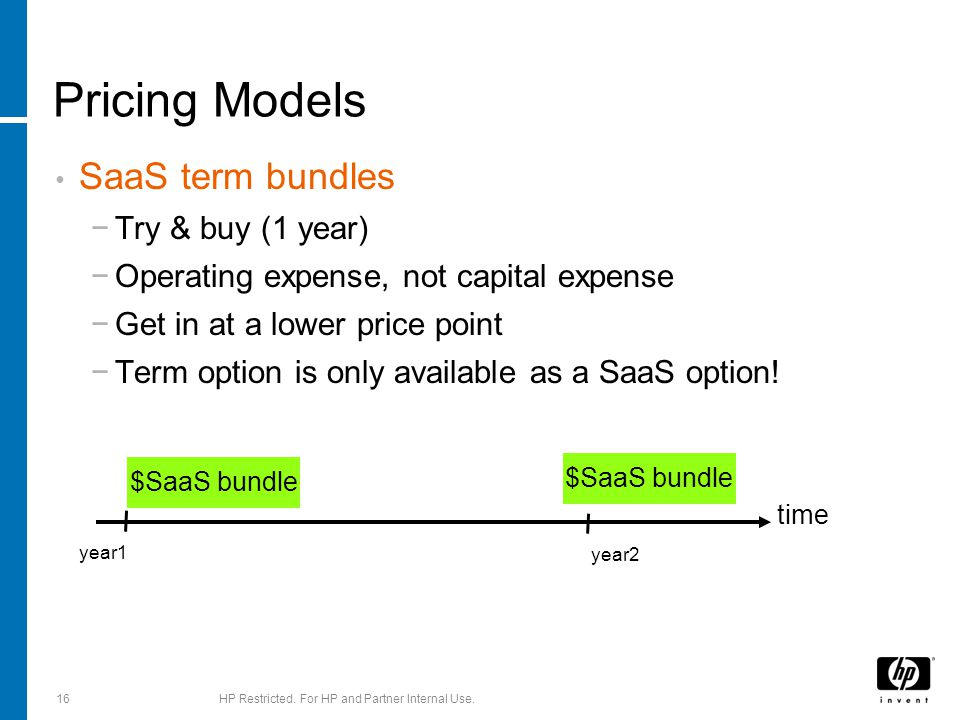 Pricing Models SaaS term bundles −Try & buy (1 year) −Operating expense, not capital expense −Get in at a lower price point −Term option is only avail