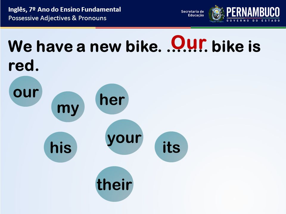 my your his her its our their We have a new bike. ……..