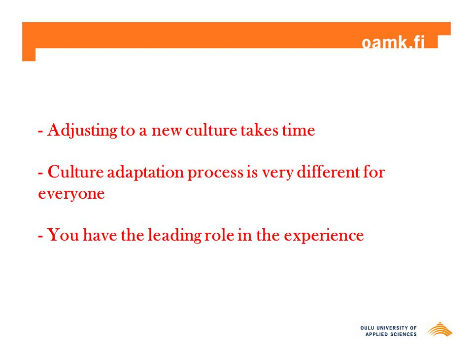 - Adjusting to a new culture takes time - Culture adaptation process is very different for everyone - You have the leading role in the experience