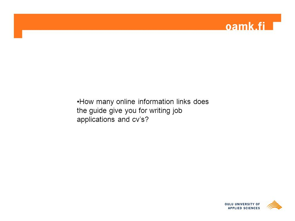 How many online information links does the guide give you for writing job applications and cv's?