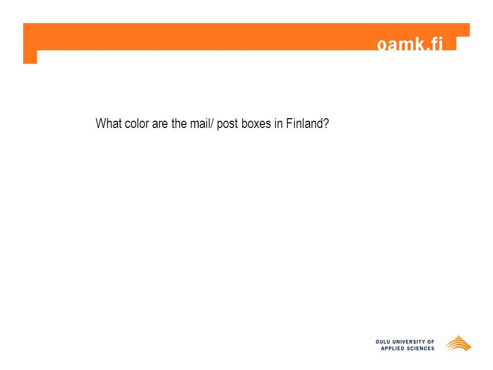 What color are the mail/ post boxes in Finland?