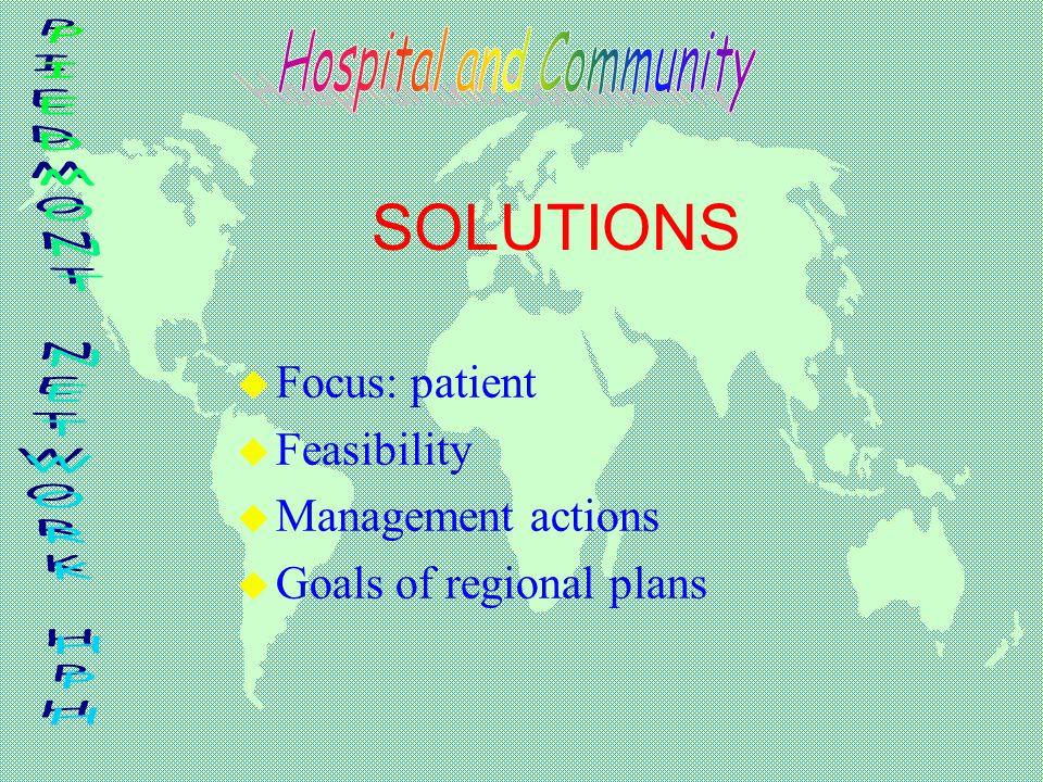 SOLUTIONS u Focus: patient u Feasibility u Management actions u Goals of regional plans