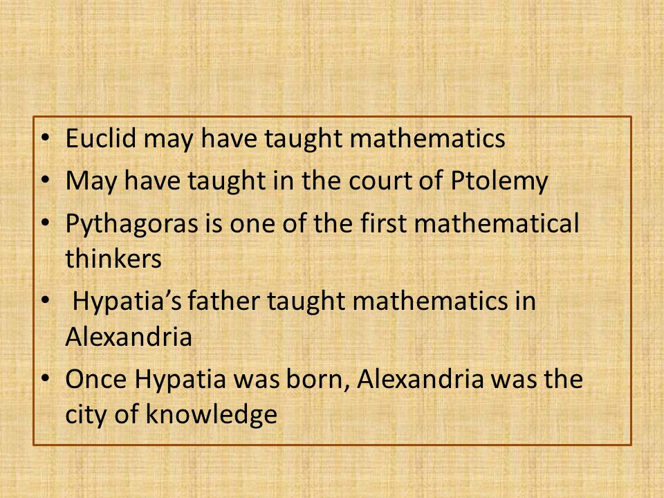Greeks didn't like algebra because of the way they wrote their numbers Pythagoras s theory: in a right triangle the 2 angels will always be the same Greeks used formulas to show evidence of their theories Pythagorean theorem was transferred into Arabic in 1258 AD by the Persians