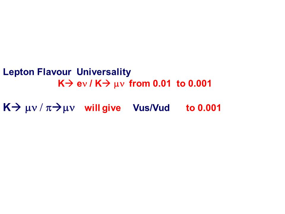 Lepton Flavour Universality K  e / K   from 0.01 to 0.001 K      will give  Vus/Vud to 0.001