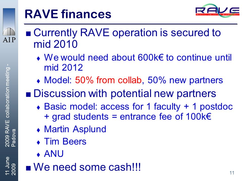 11 11 June 2009 2009 RAVE collaboration meeting - Padova RAVE finances  Currently RAVE operation is secured to mid 2010  We would need about 600k€ to continue until mid 2012  Model: 50% from collab, 50% new partners  Discussion with potential new partners  Basic model: access for 1 faculty + 1 postdoc + grad students = entrance fee of 100k€  Martin Asplund  Tim Beers  ANU  We need some cash!!!