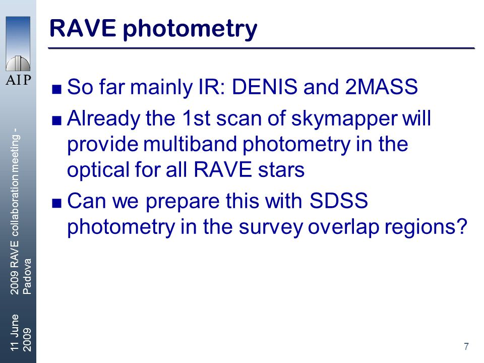 8 11 June 2009 2009 RAVE collaboration meeting - Padova RAVE science  A number of science papers appeared  One from outside of the collaboration  Only a few on key science areas of RAVE