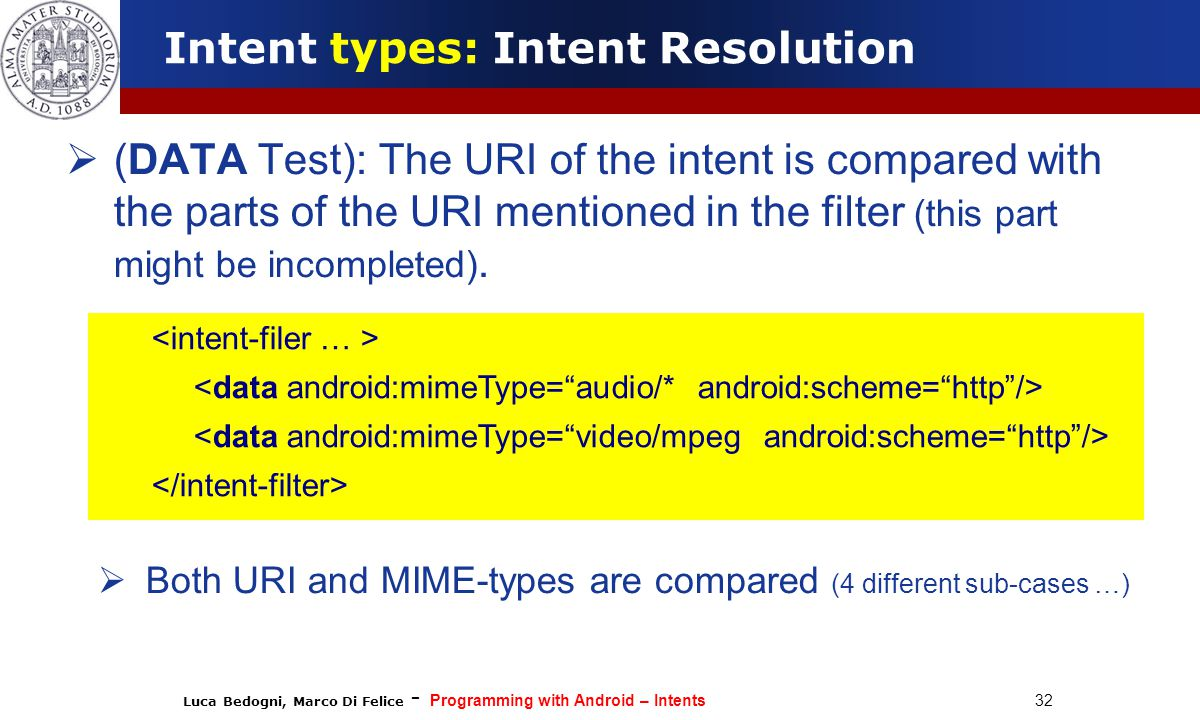 Luca Bedogni, Marco Di Felice - Programming with Android – Intents 32  (DATA Test): The URI of the intent is compared with the parts of the URI mentioned in the filter (this part might be incompleted).