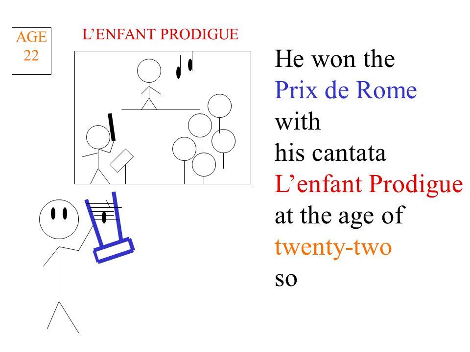 He won the Prix de Rome with his cantata L'enfant Prodigue at the age of twenty-two so AGE 22 L'ENFANT PRODIGUE