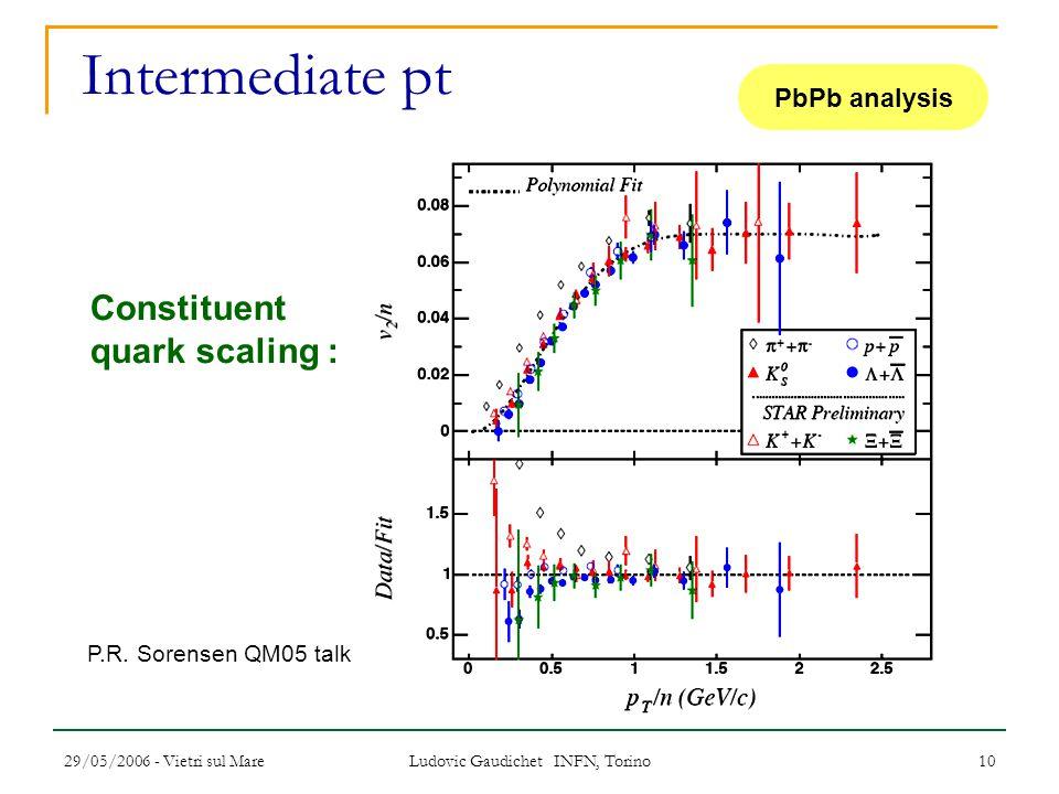 29/05/2006 - Vietri sul Mare Ludovic Gaudichet INFN, Torino 10 Intermediate pt PbPb analysis Constituent quark scaling : P.R. Sorensen QM05 talk