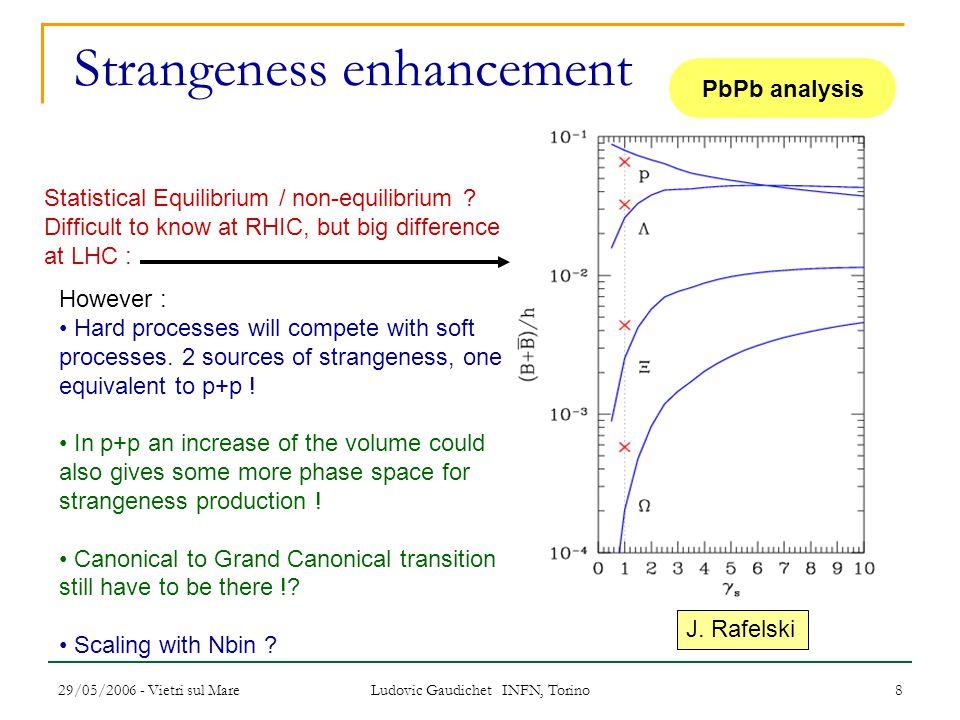 29/05/2006 - Vietri sul Mare Ludovic Gaudichet INFN, Torino 8 Strangeness enhancement J. Rafelski Statistical Equilibrium / non-equilibrium ? Difficul