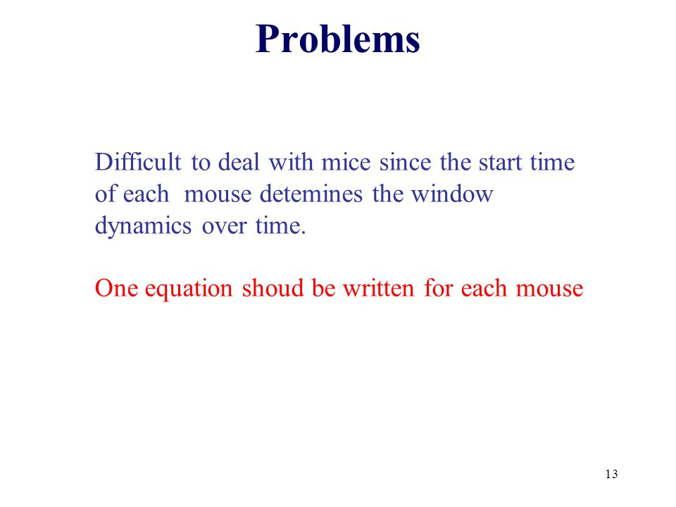 13 Problems Difficult to deal with mice since the start time of each mouse detemines the window dynamics over time.