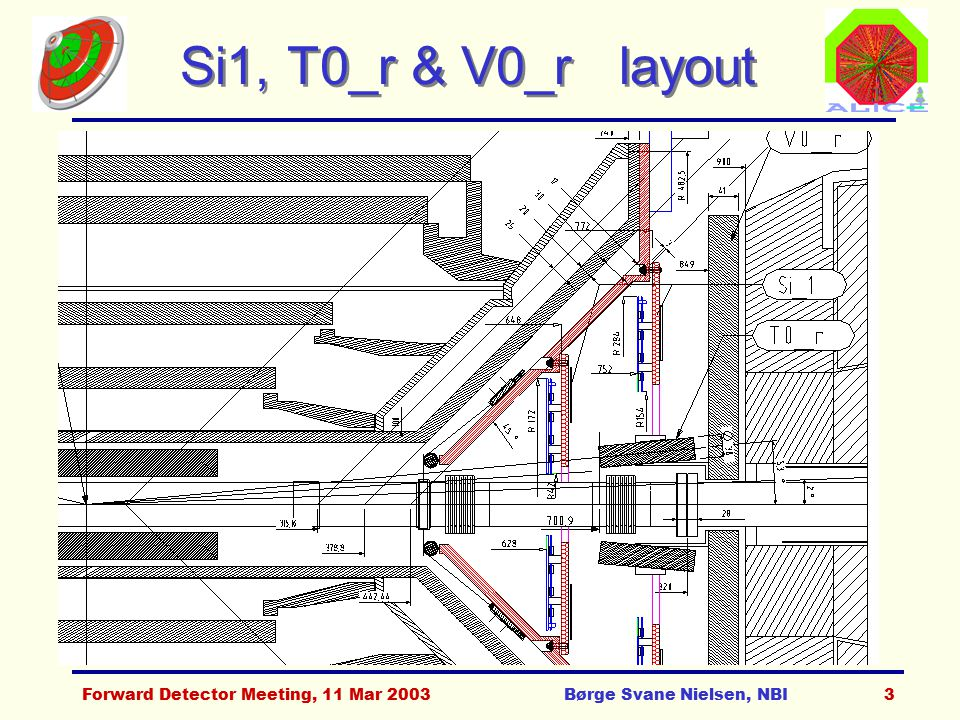 Forward Detector Meeting, 11 Mar 2003Børge Svane Nielsen, NBI3 Si1, T0_r & V0_r layout