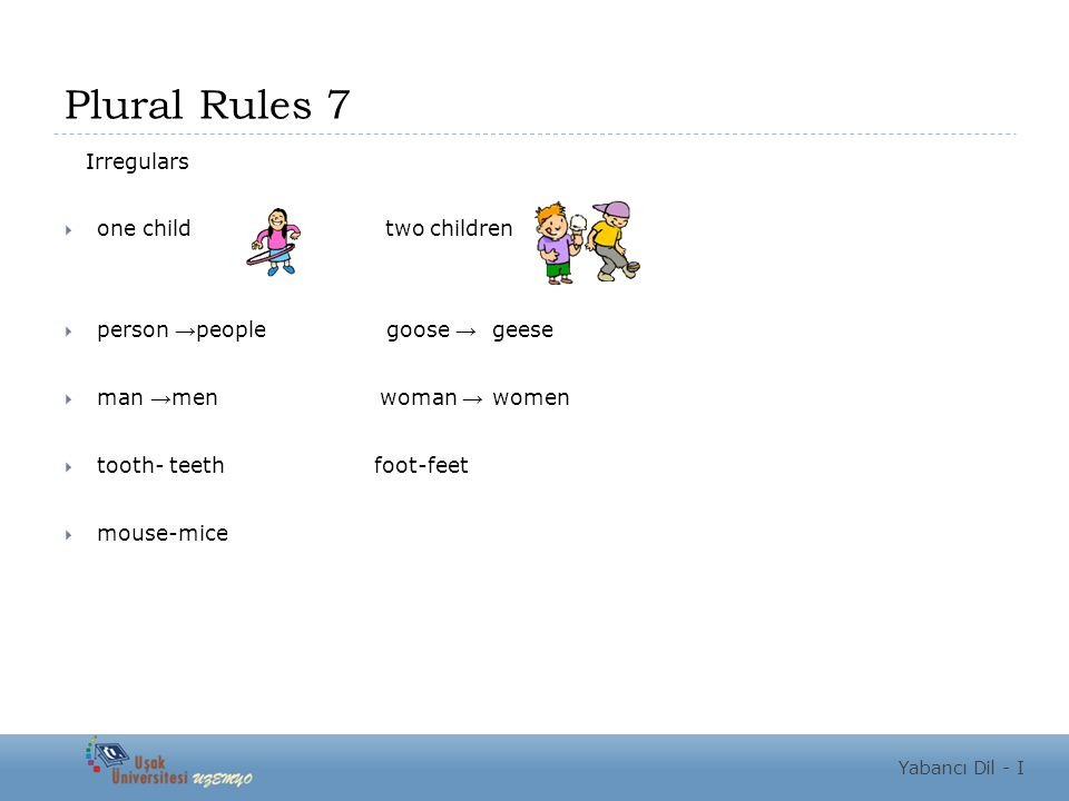 Plural Rules 7 Irregulars  one child two children  person → people goose → geese  man → men woman → women  tooth- teeth foot-feet  mouse-mice Yabancı Dil - I