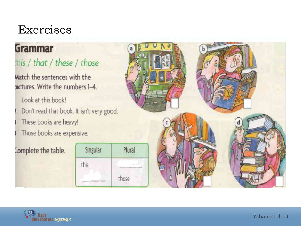 Exercises Yabancı Dil - I