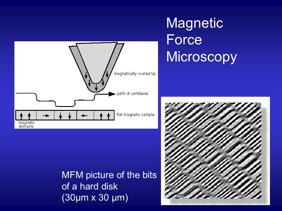 Magnetic Force Microscopy MFM picture of the bits of a hard disk (30µm x 30 µm)