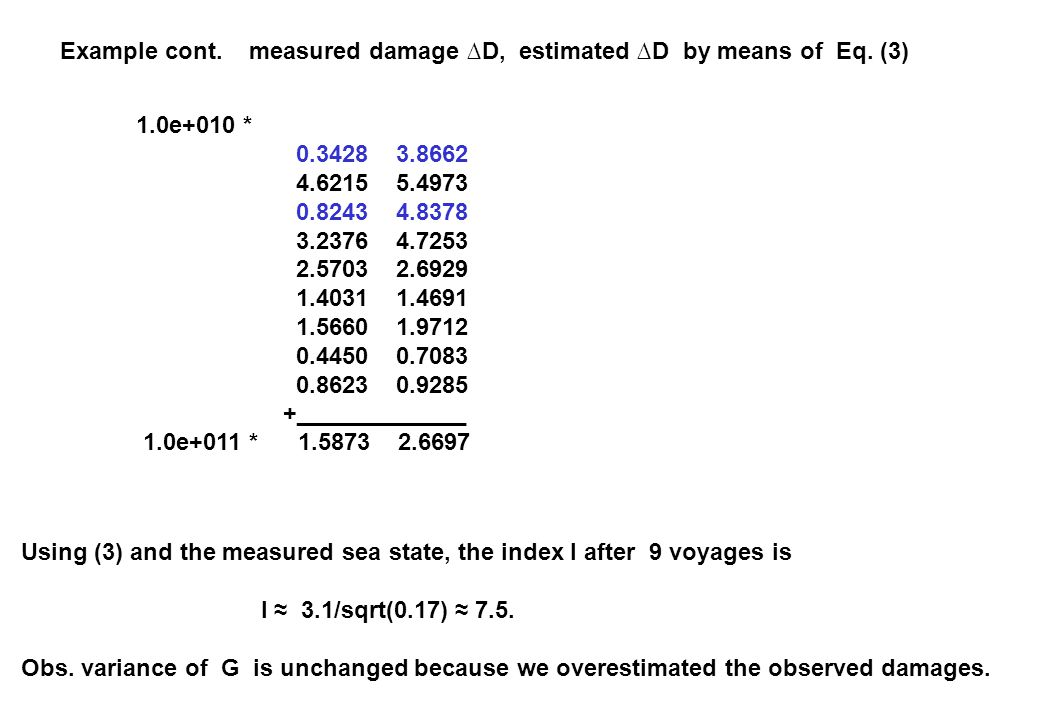 Example cont. measured damage ∆D, estimated ∆D by means of Eq. (3) 1.0e+010 * 0.3428 3.8662 4.6215 5.4973 0.8243 4.8378 3.2376 4.7253 2.5703 2.6929 1.
