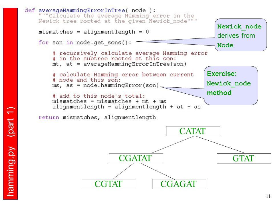11 CGTAT CGATAT CGAGAT GTAT CATAT hamming.py (part 1) Exercise: Newick_node method Newick_node derives from Node