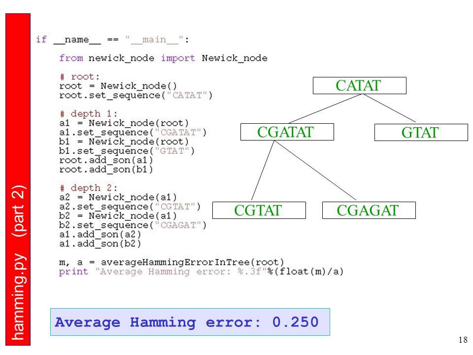 18 Average Hamming Error hamming.py (part 2) CGTAT CGATAT CGAGAT GTAT CATAT Average Hamming error: 0.250