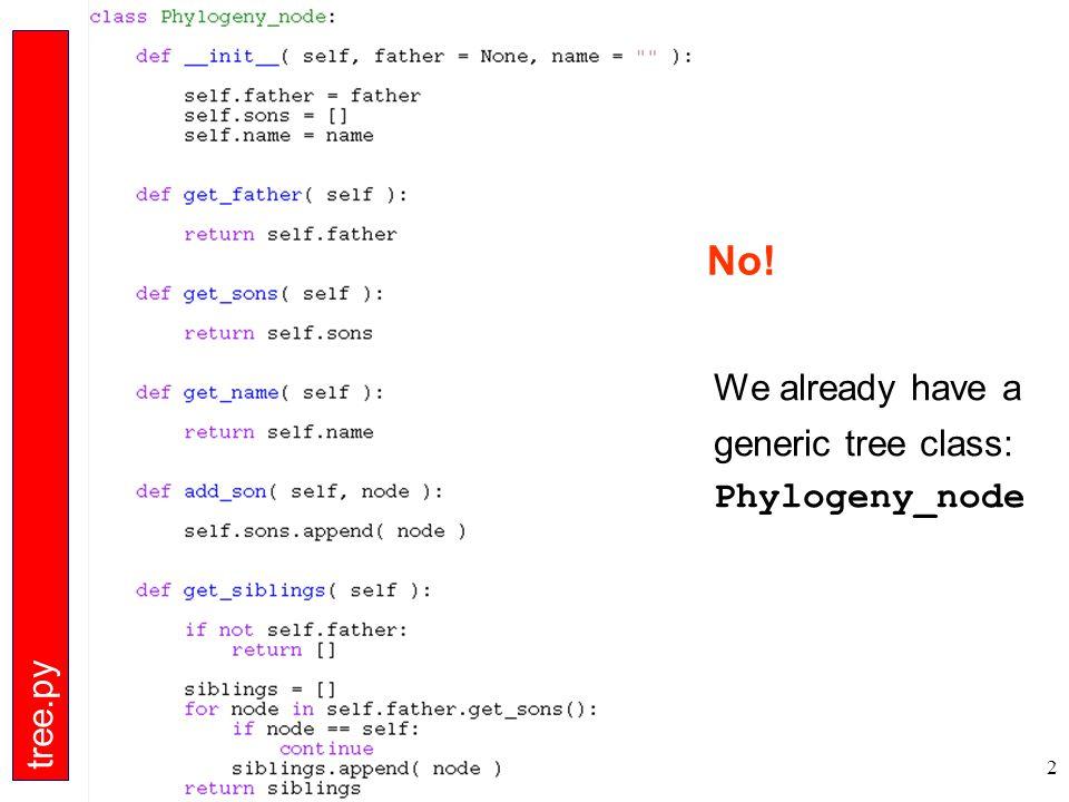 2 No! We already have a generic tree class: Phylogeny_node tree.py