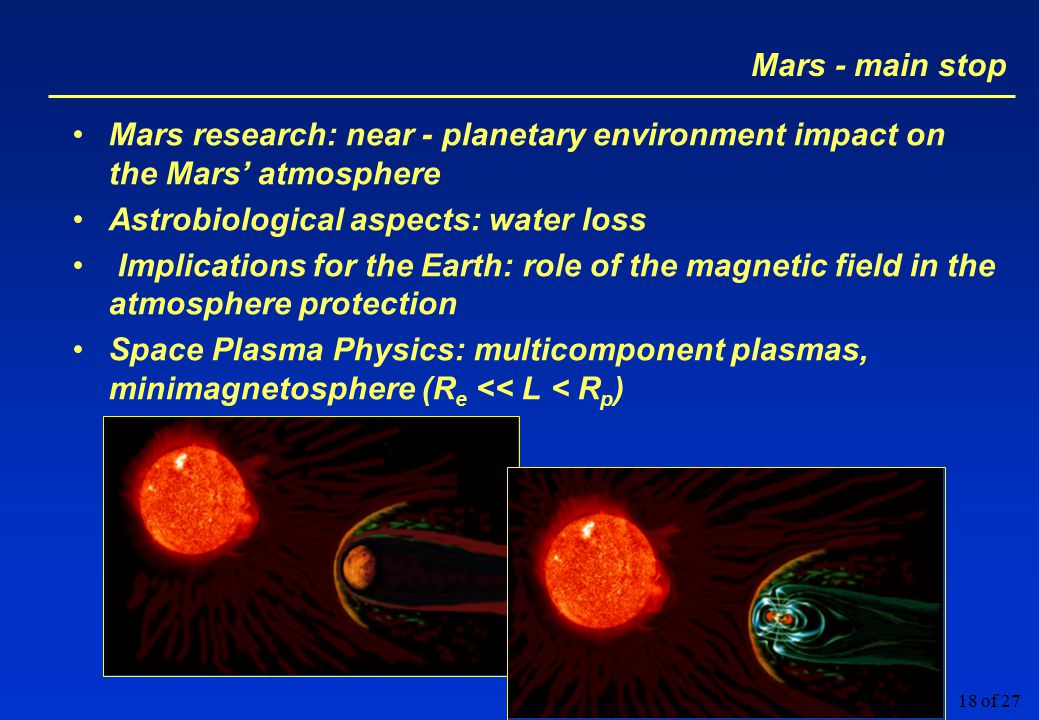 18 of 27 Mars - main stop Mars research: near - planetary environment impact on the Mars' atmosphere Astrobiological aspects: water loss Implications for the Earth: role of the magnetic field in the atmosphere protection Space Plasma Physics: multicomponent plasmas, minimagnetosphere (R e << L < R p )