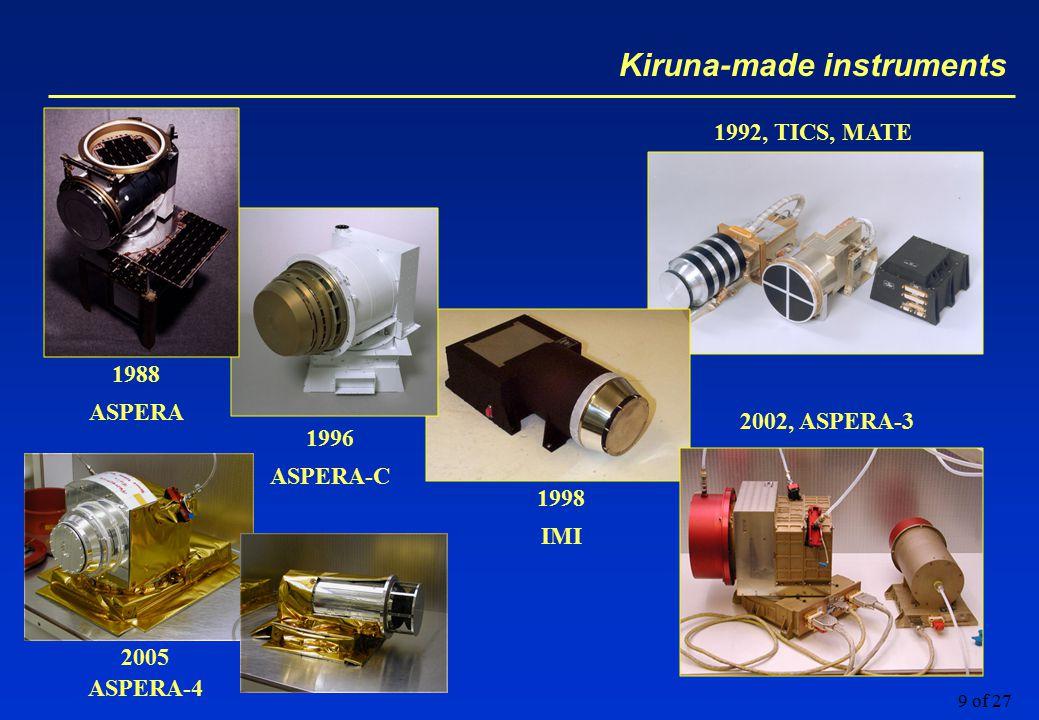 9 of 27 Kiruna-made instruments 1988 ASPERA 1992, TICS, MATE 1996 ASPERA-C 1998 IMI 2002, ASPERA-3 2005 ASPERA-4