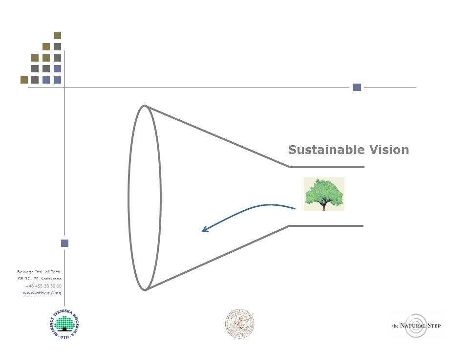 Blekinge Inst. of Tech. SE-371 79 Karlskrona +46 455 38 50 00 www.bth.se/eng Sustainable Vision
