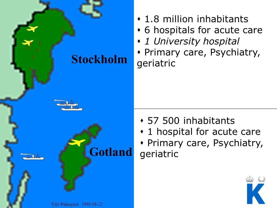Stockholm Gotland  1.8 million inhabitants  6 hospitals for acute care  1 University hospital  Primary care, Psychiatry, geriatric  57 500 inhabi
