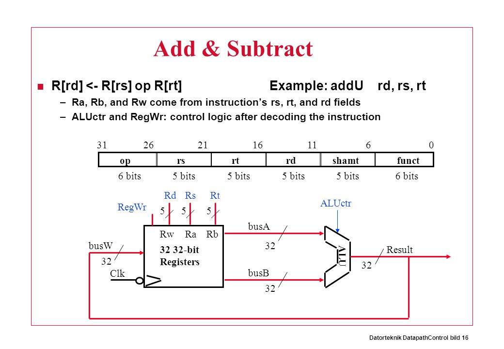 Datorteknik DatapathControl bild 16 Add & Subtract R[rd] <- R[rs] op R[rt] Example: addU rd, rs, rt –Ra, Rb, and Rw come from instruction's rs, rt, and rd fields –ALUctr and RegWr: control logic after decoding the instruction 32 Result ALUctr Clk busW RegWr 32 busA 32 busB 555 RwRaRb 32 32-bit Registers RsRtRd ALU oprsrtrdshamtfunct 061116212631 6 bits 5 bits