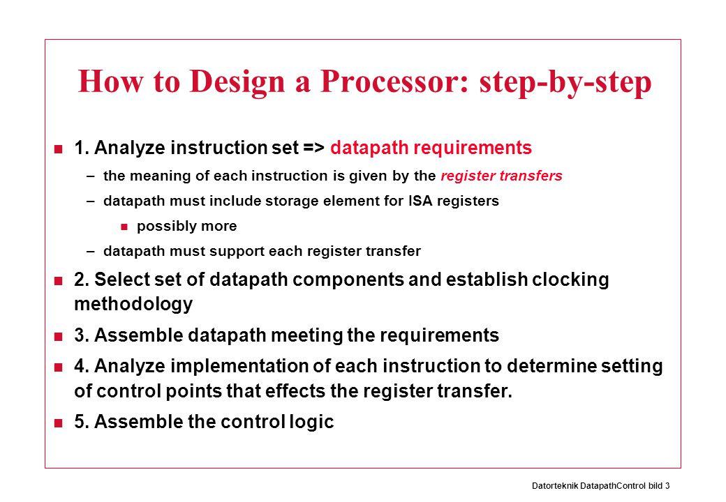 Datorteknik DatapathControl bild 3 How to Design a Processor: step-by-step 1.