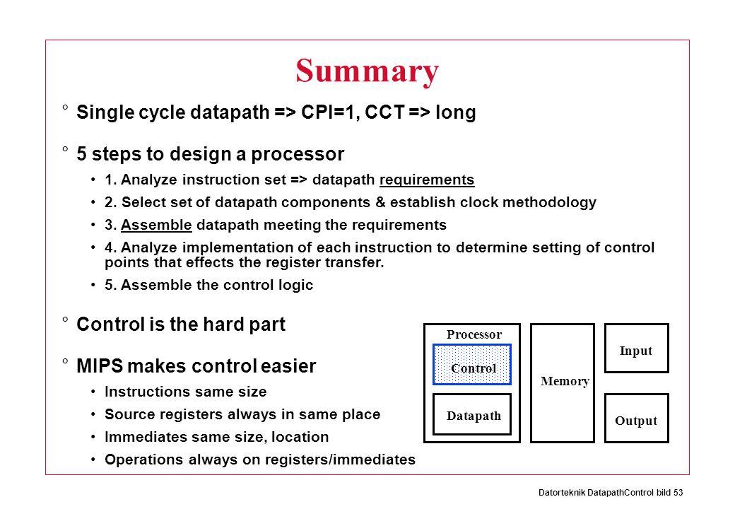 Datorteknik DatapathControl bild 53 °Single cycle datapath => CPI=1, CCT => long °5 steps to design a processor 1.
